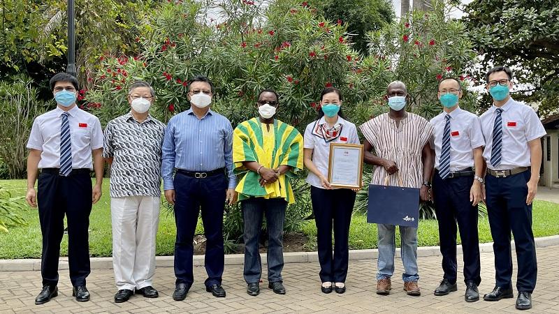 广东省第10批援加纳医疗队荣获加纳-中国友好协会荣誉证书